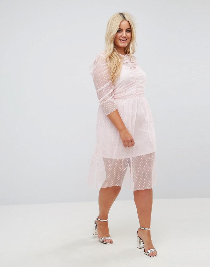 c94e041183f Присборенное платье миди из сетки в горошек ASOS CURVE - Розовый ...