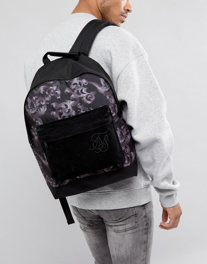Siksilk | Черный рюкзак с принтом в стиле барокко SikSilk - | Clouty