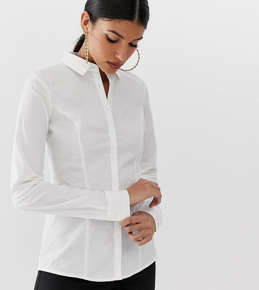 ASOS | Рубашка из эластичного хлопка с длинными рукавами ASOS DESIGN Tall - Белый | Clouty