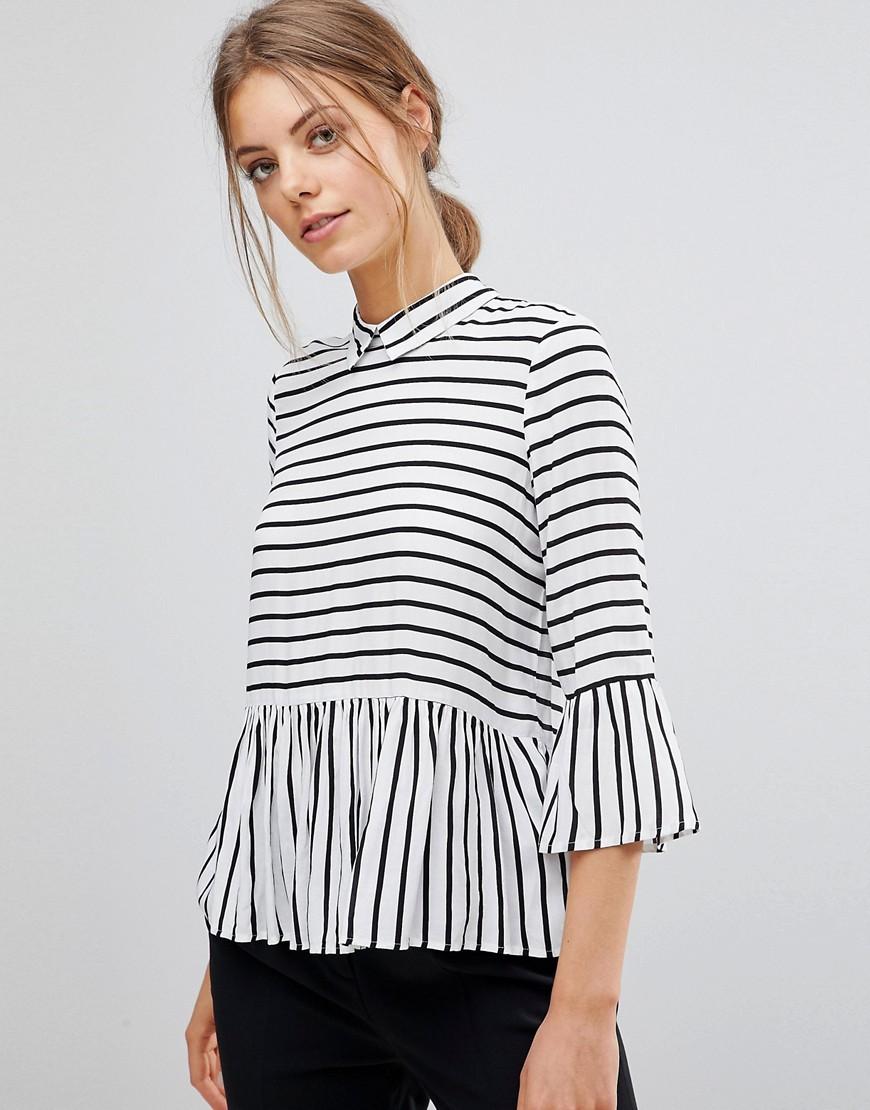Esprit | Рубашка в полоску с оборками и пуговицами на спине Esprit - Белый | Clouty