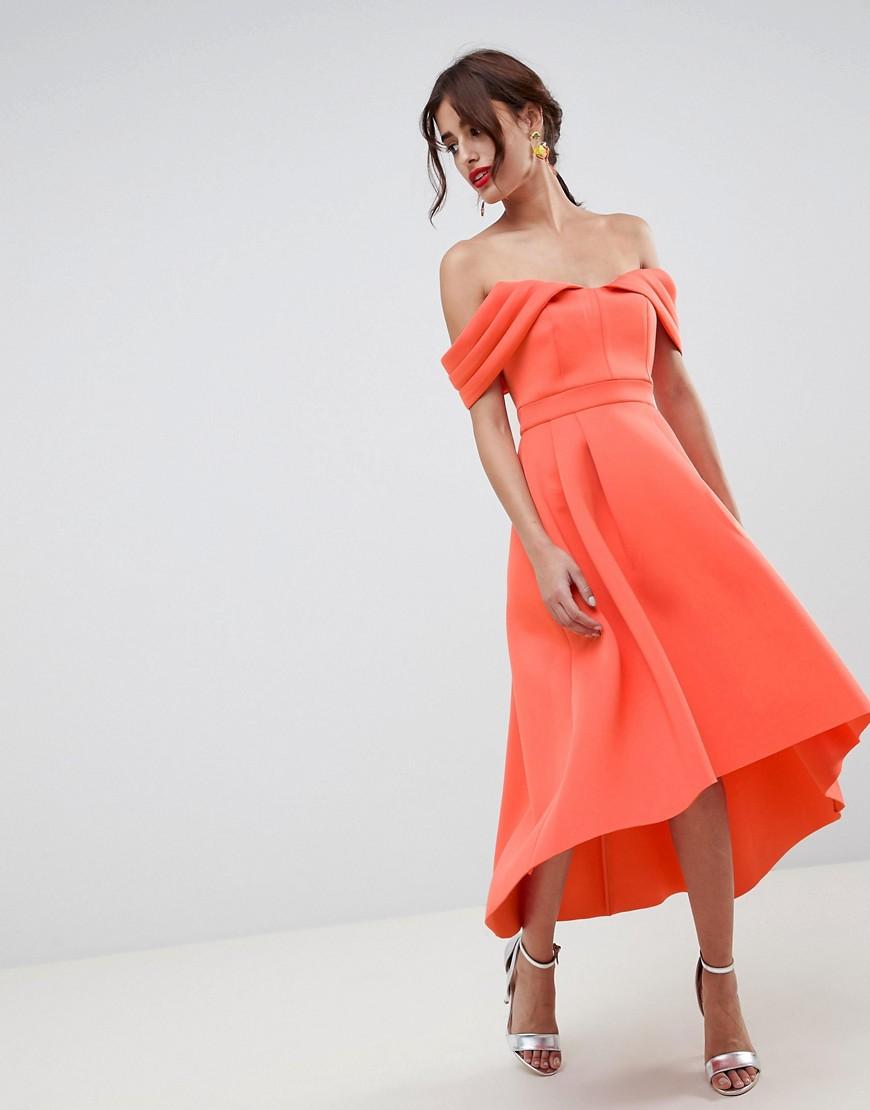 ASOS | Платье миди для выпускного с открытыми плечами ASOS DESIGN - Розовый | Clouty