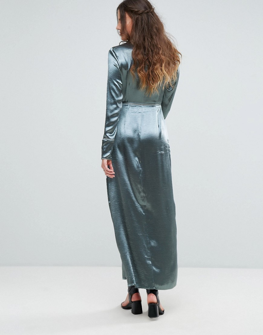 Glamorous | Синий Атласное платье макси с запахом и контрастной окантовкой Glamorous Tal | Clouty