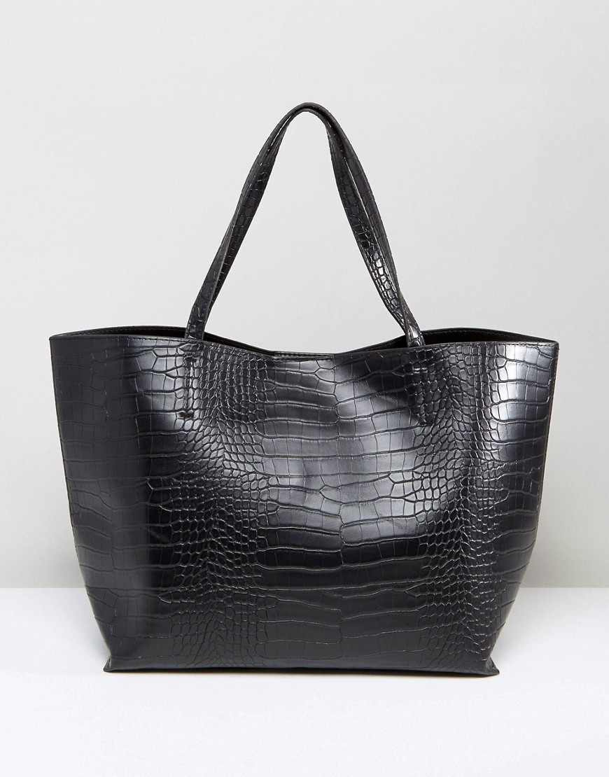 Glamorous | Сумка-тоут с отделкой под крокодиловую кожу Glamorous - Черный | Clouty