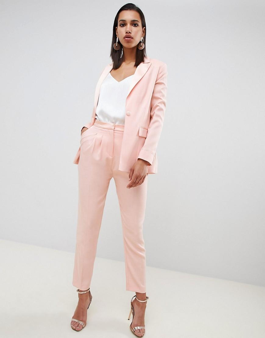 ASOS | Суженные книзу брюки с контрастной отделкой ASOS DESIGN - Розовый | Clouty