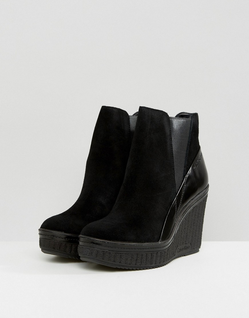 Calvin Klein   Черные ботильоны на каблуке Calvin Klein Sasha - Черный   Clouty