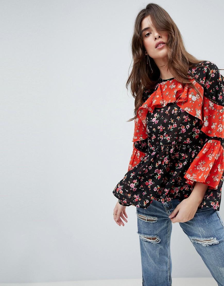 ASOS   Комбинируемая блузка с длинными рукавами, оборками и цветочным принтом ASOS - Мульти   Clouty