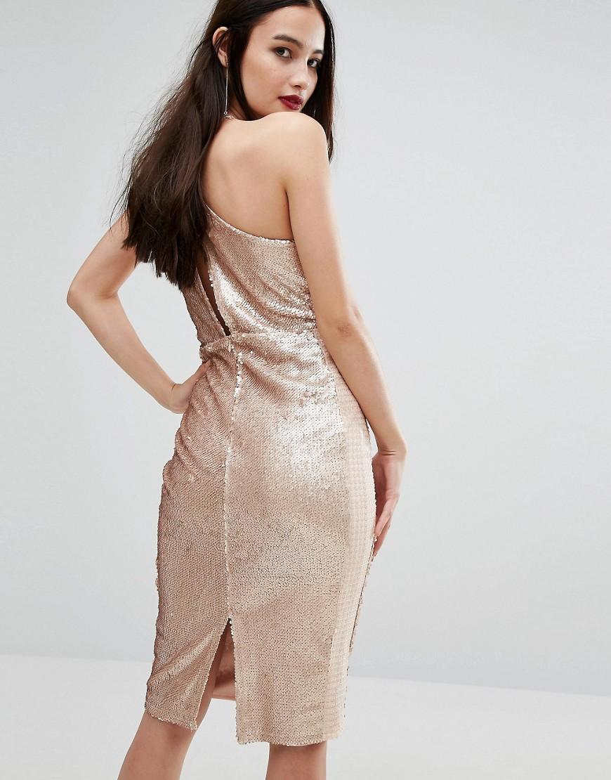 Boohoo | Платье миди с пайетками Boohoo - Бежевый | Clouty