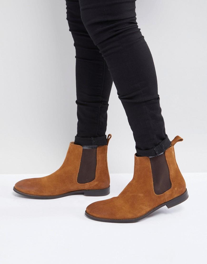 ASOS | Светло-коричневые замшевые ботинки челси ASOS - Рыжий | Clouty