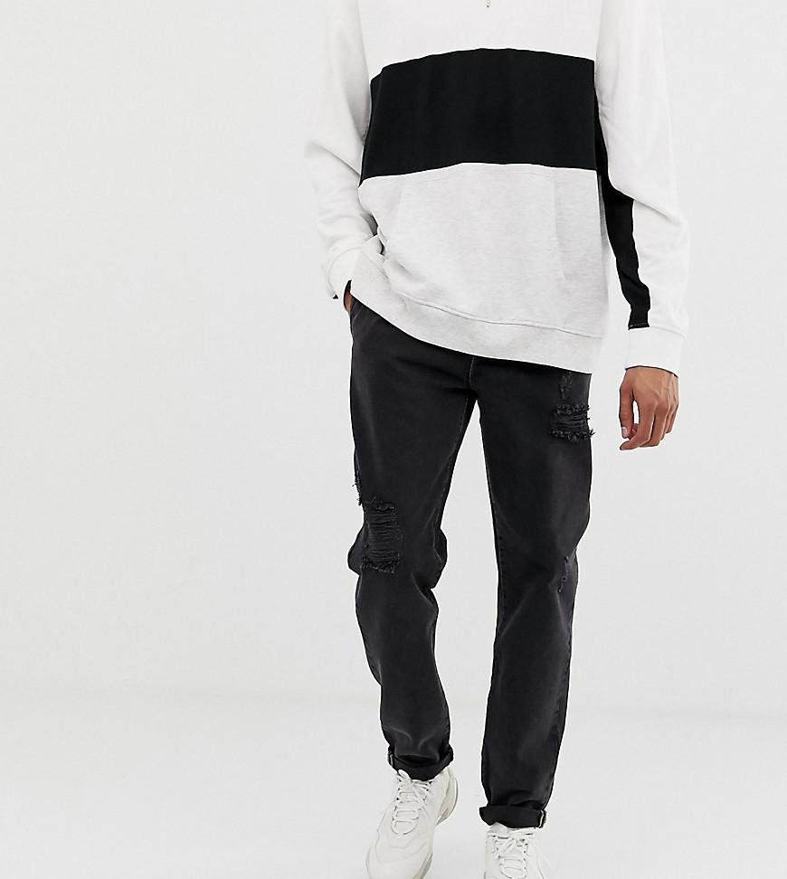ASOS | Черные выбеленные джинсы с плиссировкой и рваной отделкой ASOS DESIGN Tall - Черный | Clouty