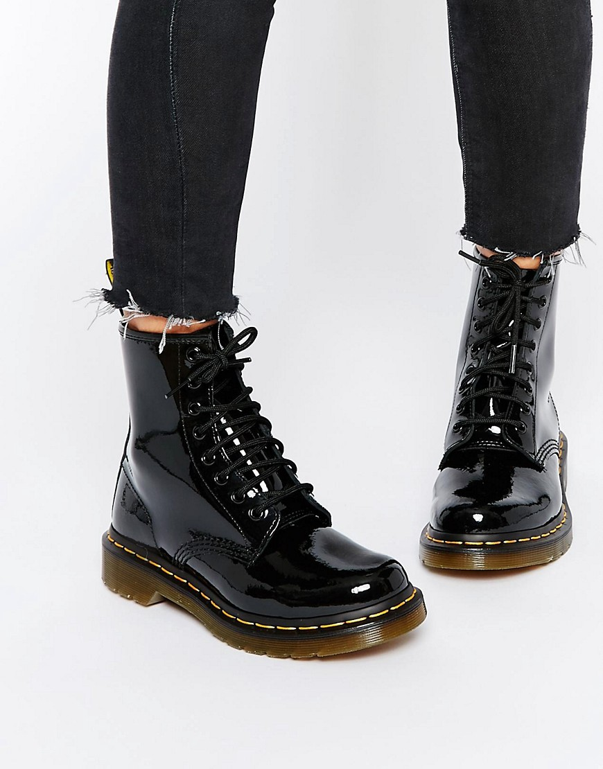 Dr. Martens | Лакированные ботинки с 8 парами люверсов Dr Martens Modern Classics 1460 - Черный | Clouty