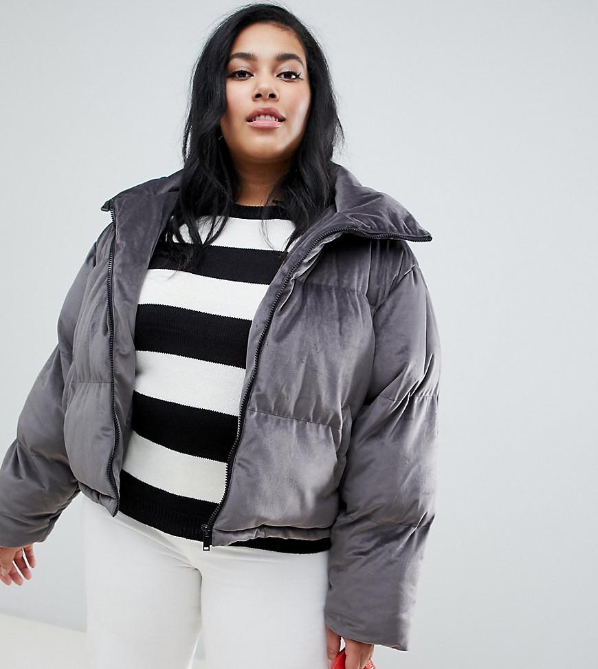 Brave Soul | Бархатное дутое пальто Brave Soul Plus Ramblin - Серый | Clouty