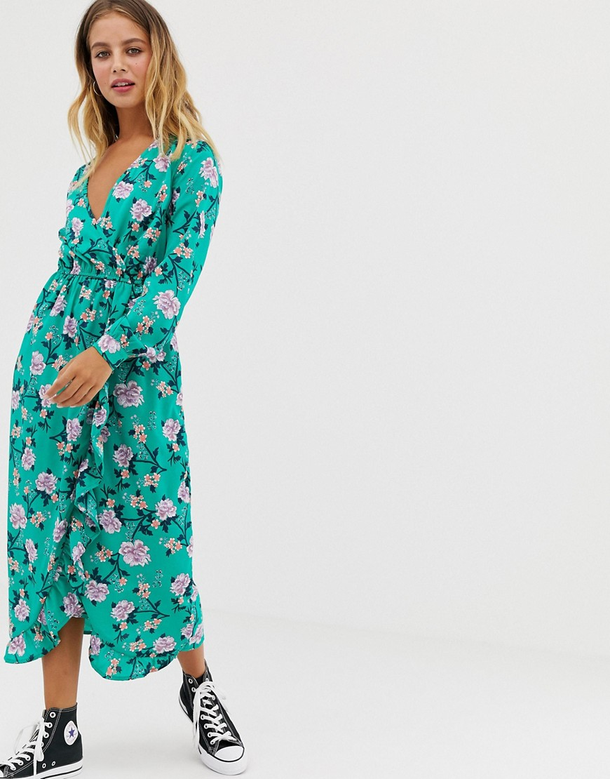 Influence   Платье миди с запахом и цветочным принтом Influence - Зеленый   Clouty
