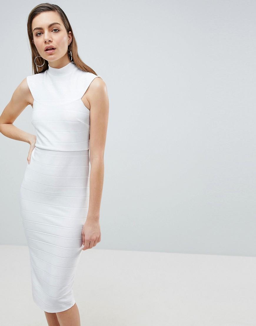 ASOS   Облегающее платье миди с высокой горловиной ASOS - Белый   Clouty