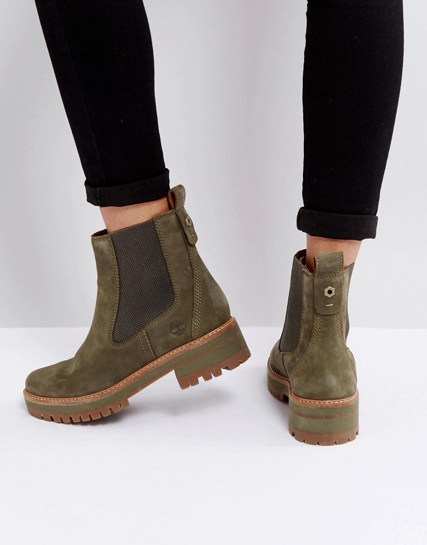 Timberland | Ботинки челси оливкового цвета Timberland Courmayeur Valley - Зеленый | Clouty