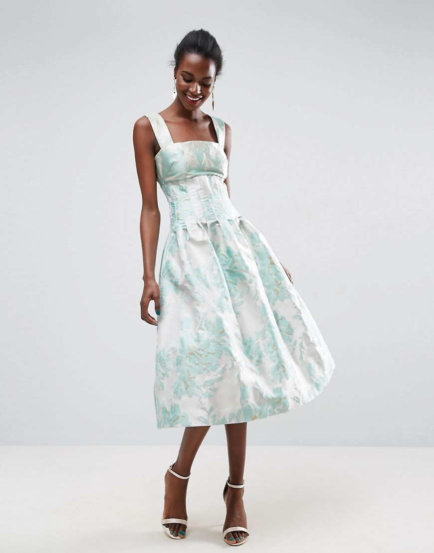 ASOS   Платье миди для выпускного с открытыми плечами ASOS - Мульти   Clouty