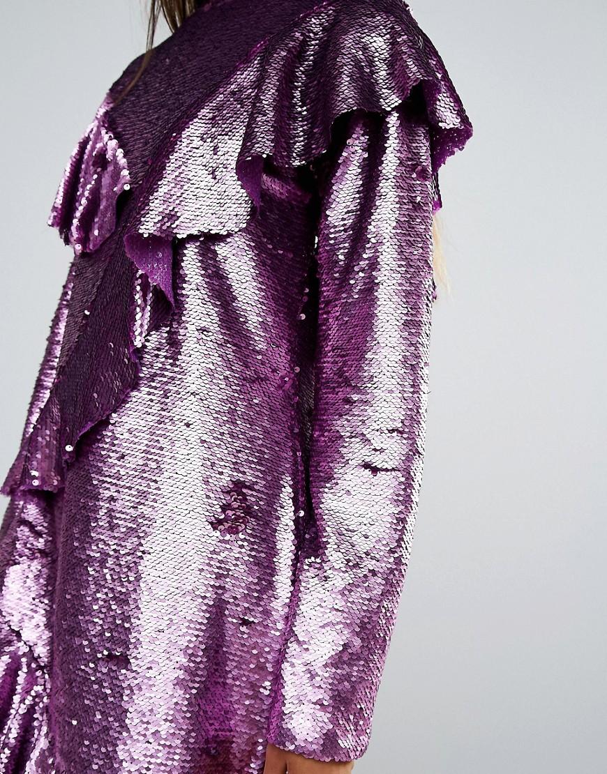Mad But Magic | Платье с оборками и пайетками Mad But Magic - Розовый | Clouty