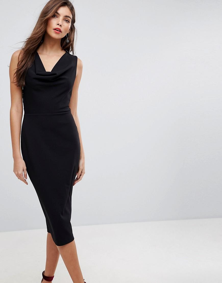 ASOS | Платье-футляр миди со свободным воротом и кружевом на спине ASOS - Черный | Clouty