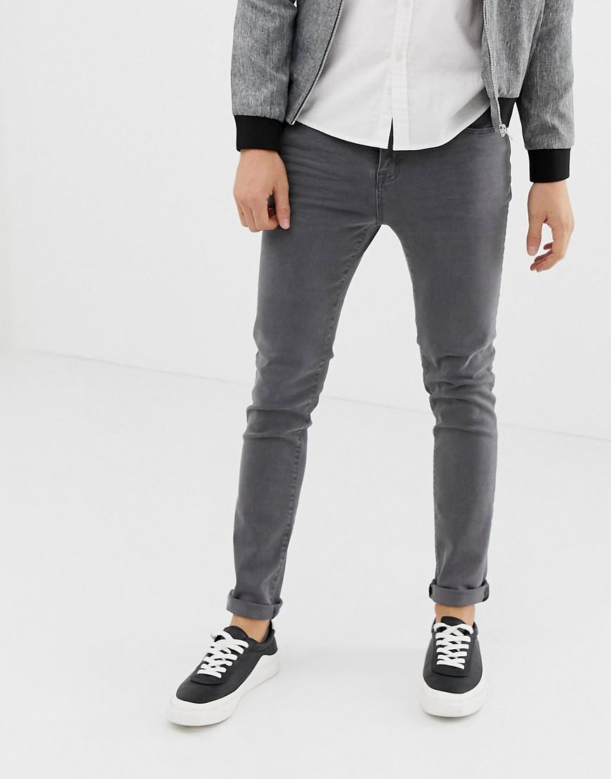 LDN DNM | Темно-серые выбеленные джинсы скинни LDN DNM - Серый | Clouty