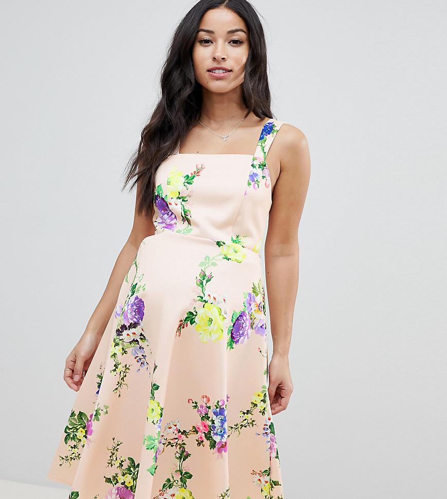 ASOS | Платье для выпускного миди с цветочным принтом и квадратным вырезом ASOS DESIGN Maternity - Мульти | Clouty