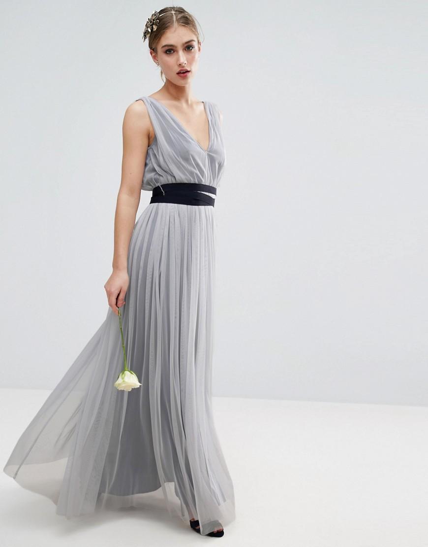Asos   Синий Сетчатое платье макси с темно-синеи лентои ASOS WEDDING - Синии   Clouty