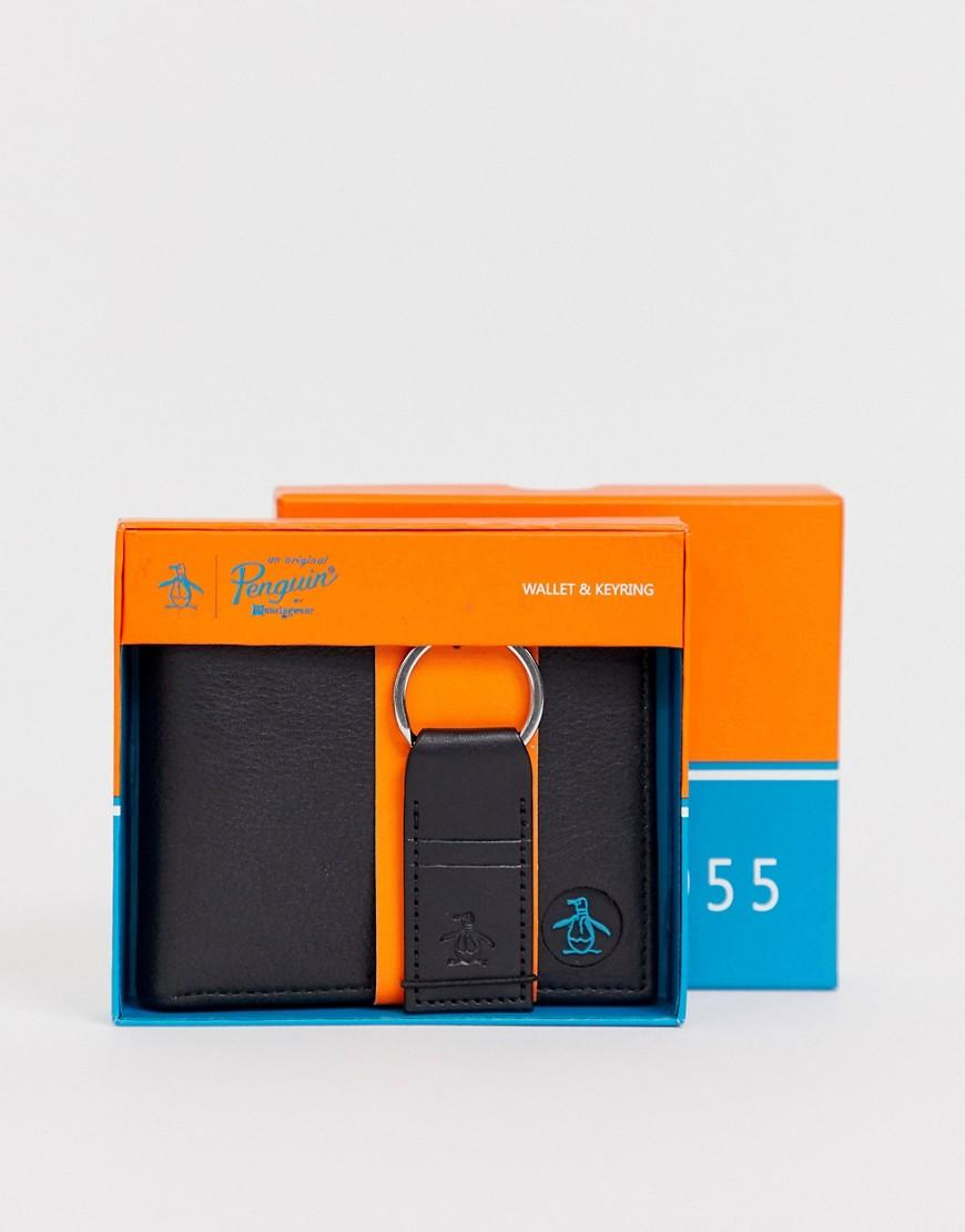 Original Penguin | Подарочный набор с бумажником и брелоком Original Penguin - Черный | Clouty
