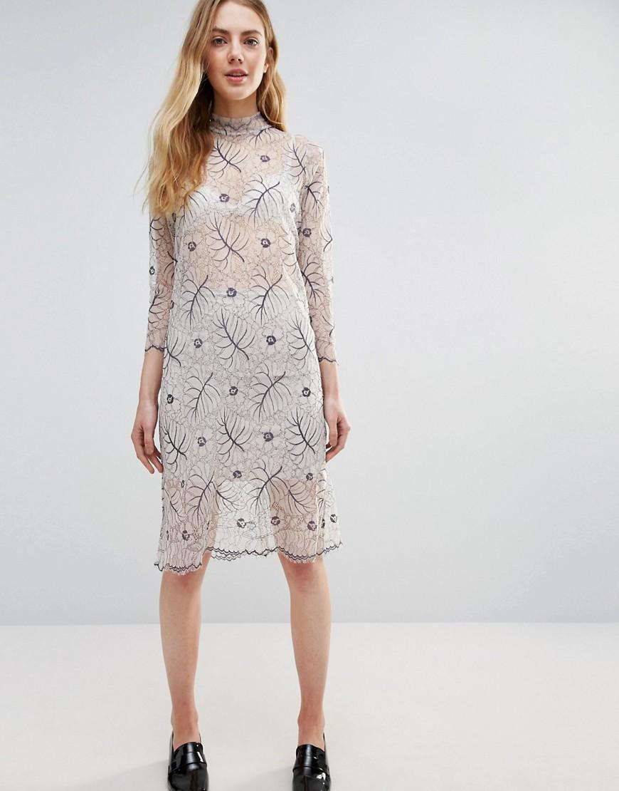 Ganni | Белый Кружевное полупрозрачное платье с длинными рукавами Ganni California | Clouty