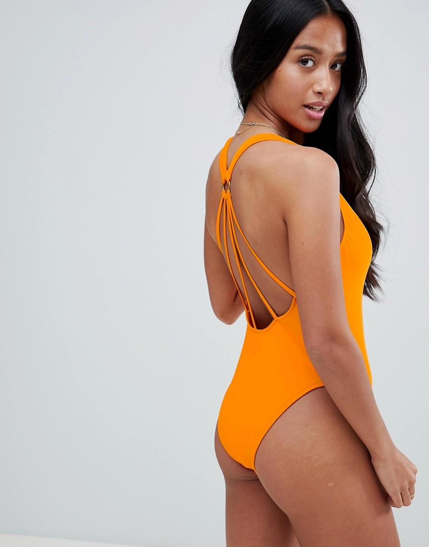 ASOS | Оранжевый Слитный купальник с декоративным кольцом и бретелями на спине ASOS DES | Clouty