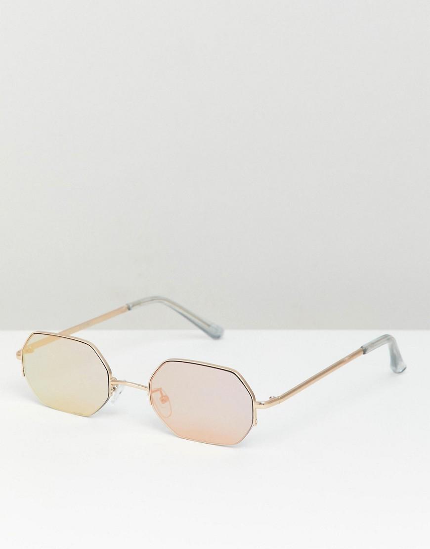 ASOS | Золотой Восьмиугольные солнцезащитные очки с зеркальными стеклами ASOS DESIGN | Clouty