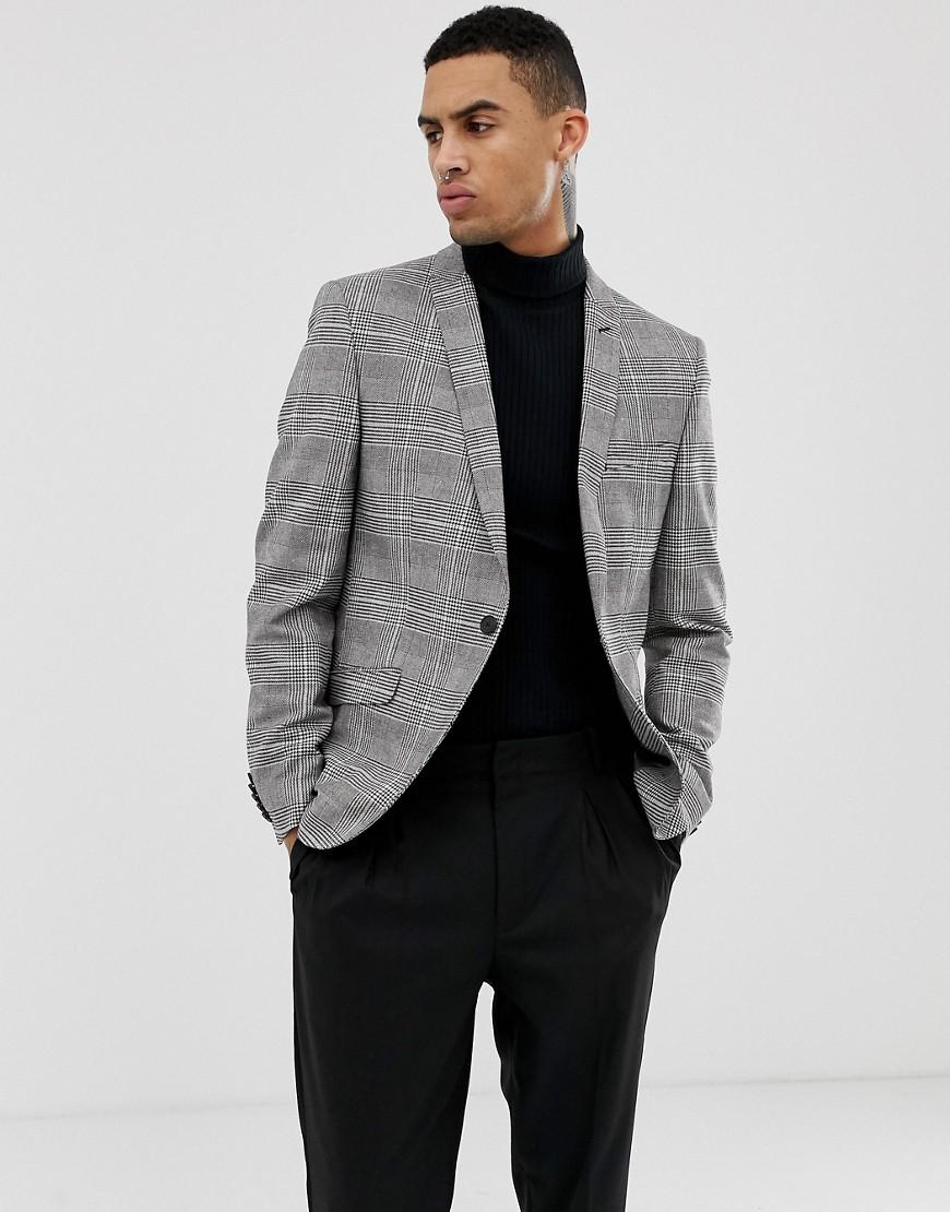 Heart & Dagger | Приталенный пиджак в клетку принц Уэльский Heart & Dagger - Серый | Clouty