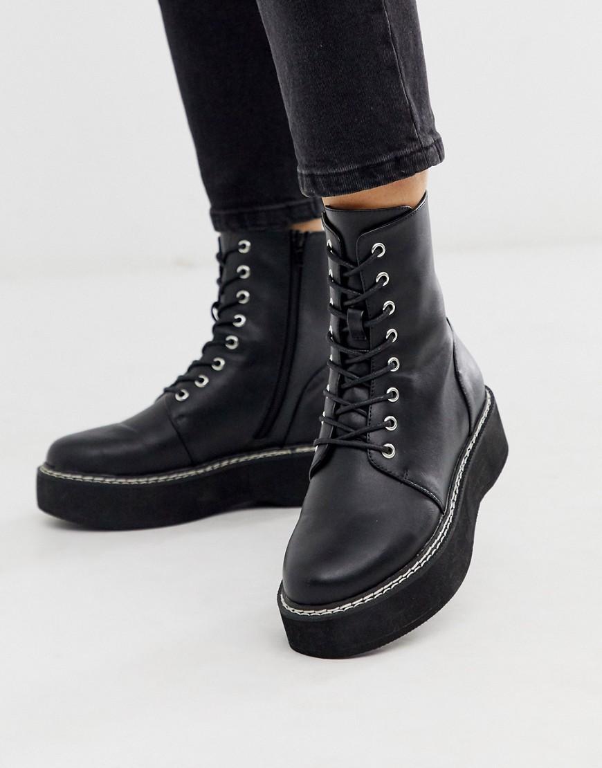 ASOS | Черные ботинки на шнуровке ASOS DESIGN - Черный | Clouty