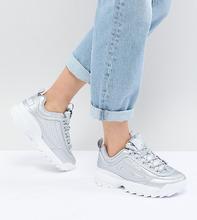 Серебристые кроссовки Fila Disruptor - Серебряный