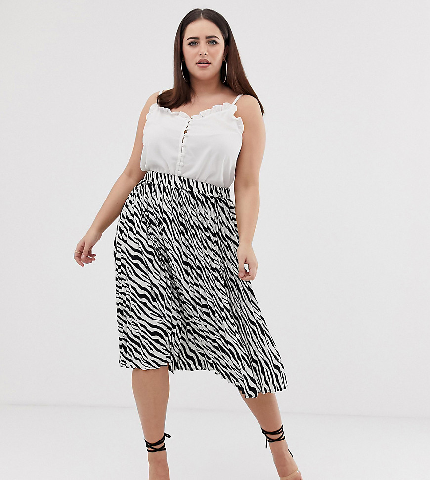 PrettyLittleThing | Плиссированная юбка миди с зебровым принтом PrettyLittleThing Plus - Мульти | Clouty
