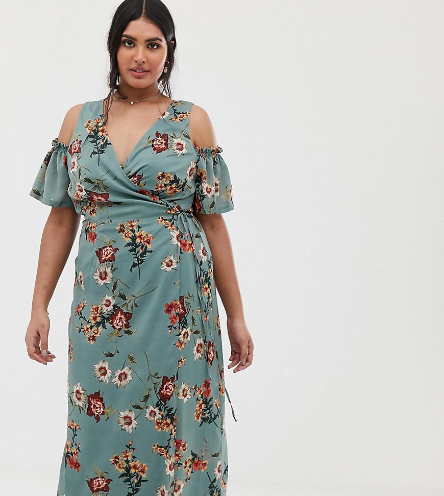 Lovedrobe | Сине-зеленое платье миди с цветочным принтом, открытыми плечами и поясом Lovedrobe - Зеленый | Clouty