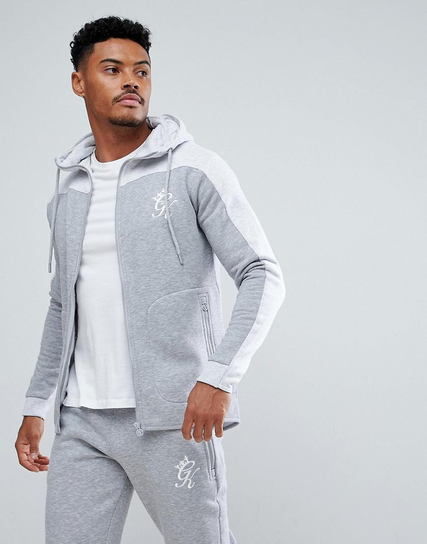Gym King | Серый обтягивающий меланжевый худи с контрастной вставкой Gym King - | Clouty