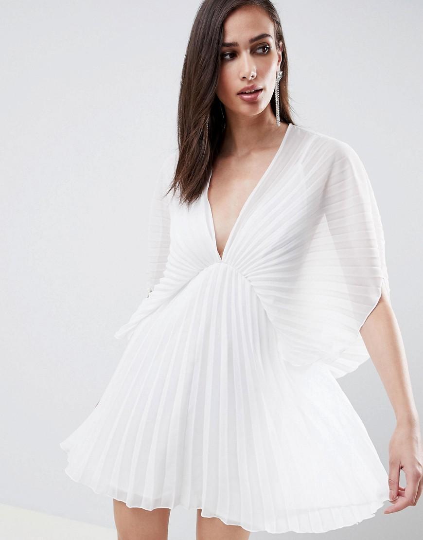 ASOS | Платье-кимоно мини со складками ASOS DESIGN - Кремовый | Clouty