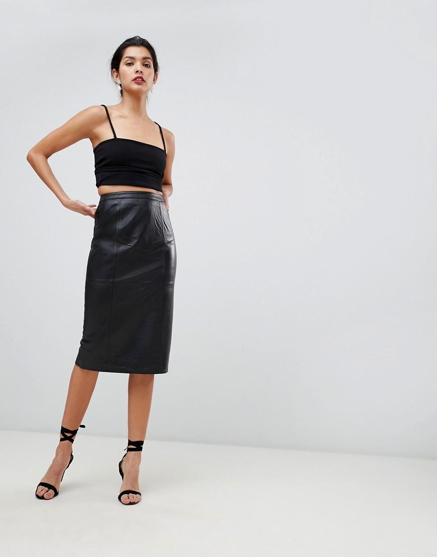 ca0048f24ca Кожаная юбка-карандаш миди ASOS DESIGN - Черный CL000000083858