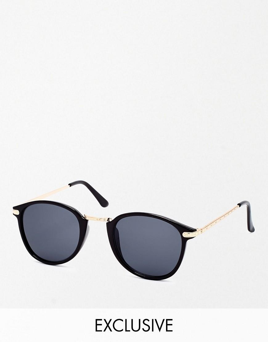 Reclaimed Vintage | Круглые солнцезащитные очки Reclaimed Vintage - Черный | Clouty