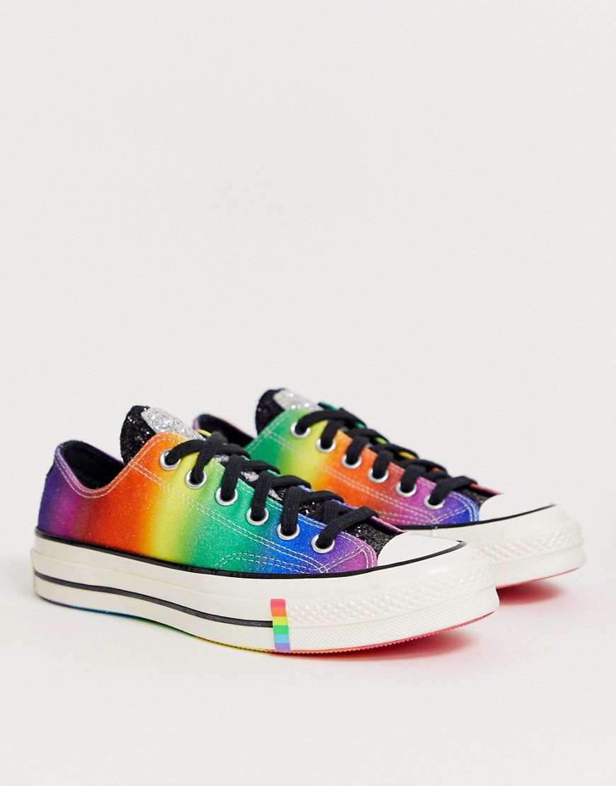 CONVERSE | Низкие черные кеды с элементами радужной расцветки и с отделкой блестками Converse Pride Chuck '70 - Мульти | Clouty