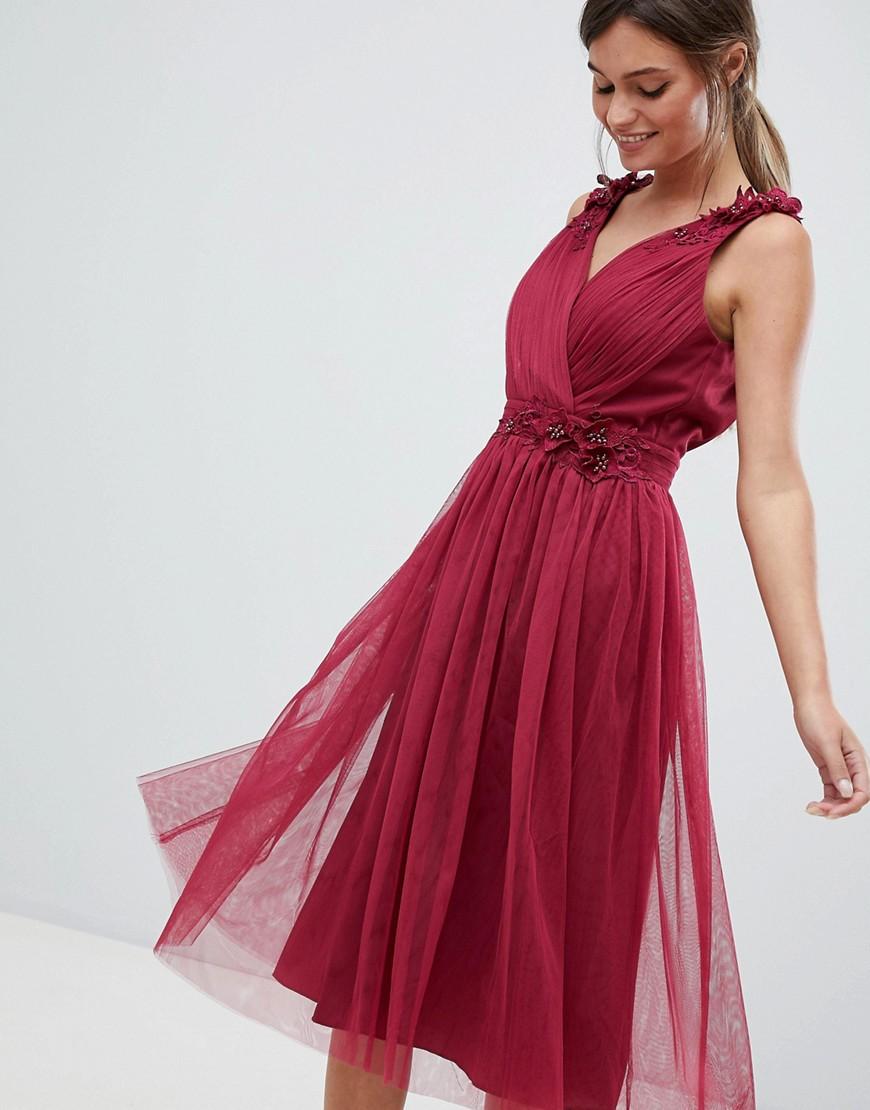Little Mistress | Платье для выпускного с V-образным вырезом Little Mistress - Красный | Clouty
