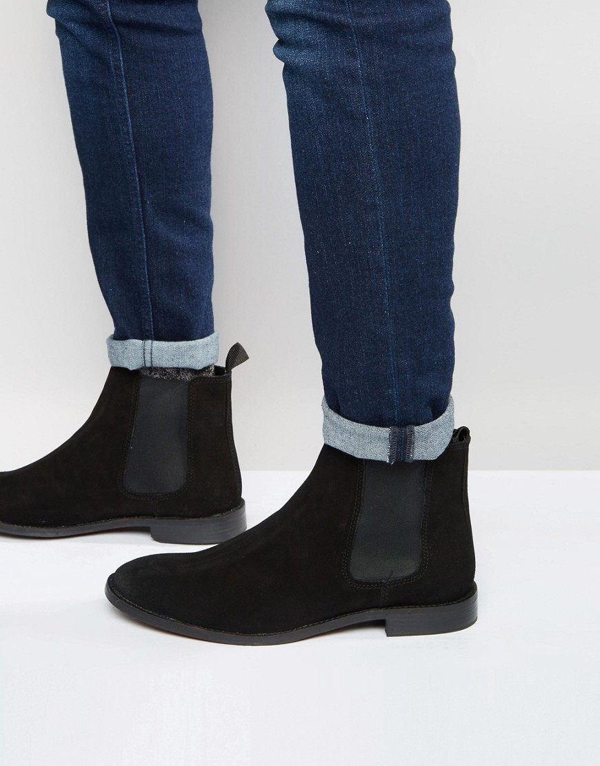 ASOS   Замшевые ботинки ASOS Chelsea - Черный   Clouty
