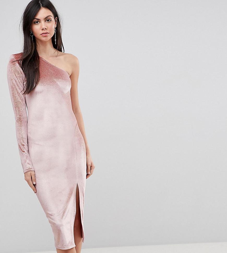 Flounce London  | Бархатное платье миди на одно плечо с блестками Flounce London Tall - Мульти | Clouty