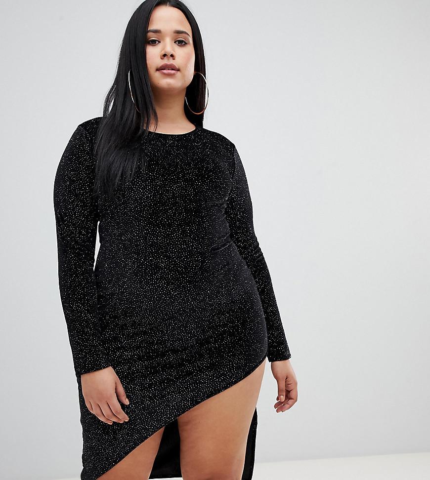 PrettyLittleThing | Черное облегающее платье мини с блестками PrettyLittleThing Plus - Черный | Clouty