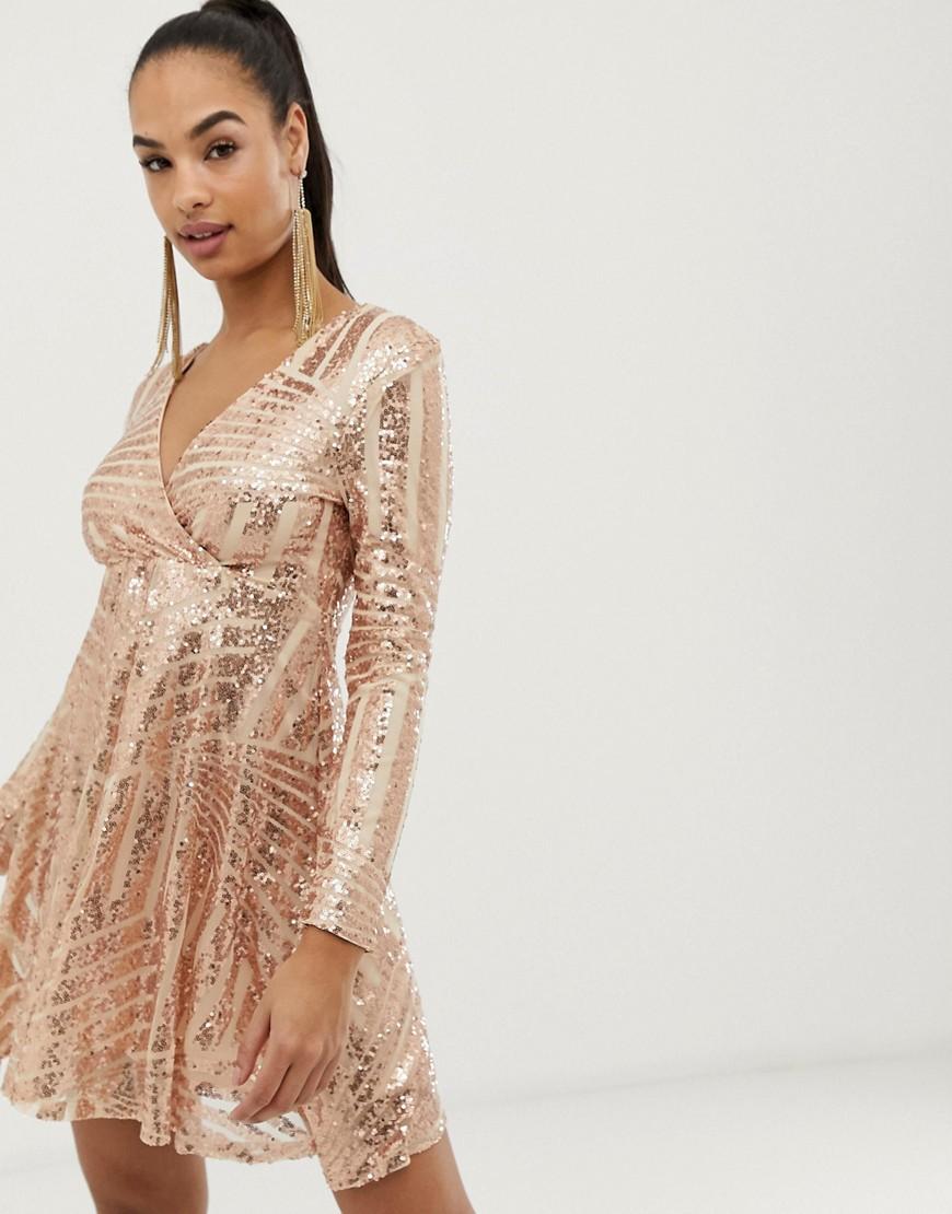 Club L London | Короткое приталенное платье с пайетками-дисками Club L - Розовый | Clouty
