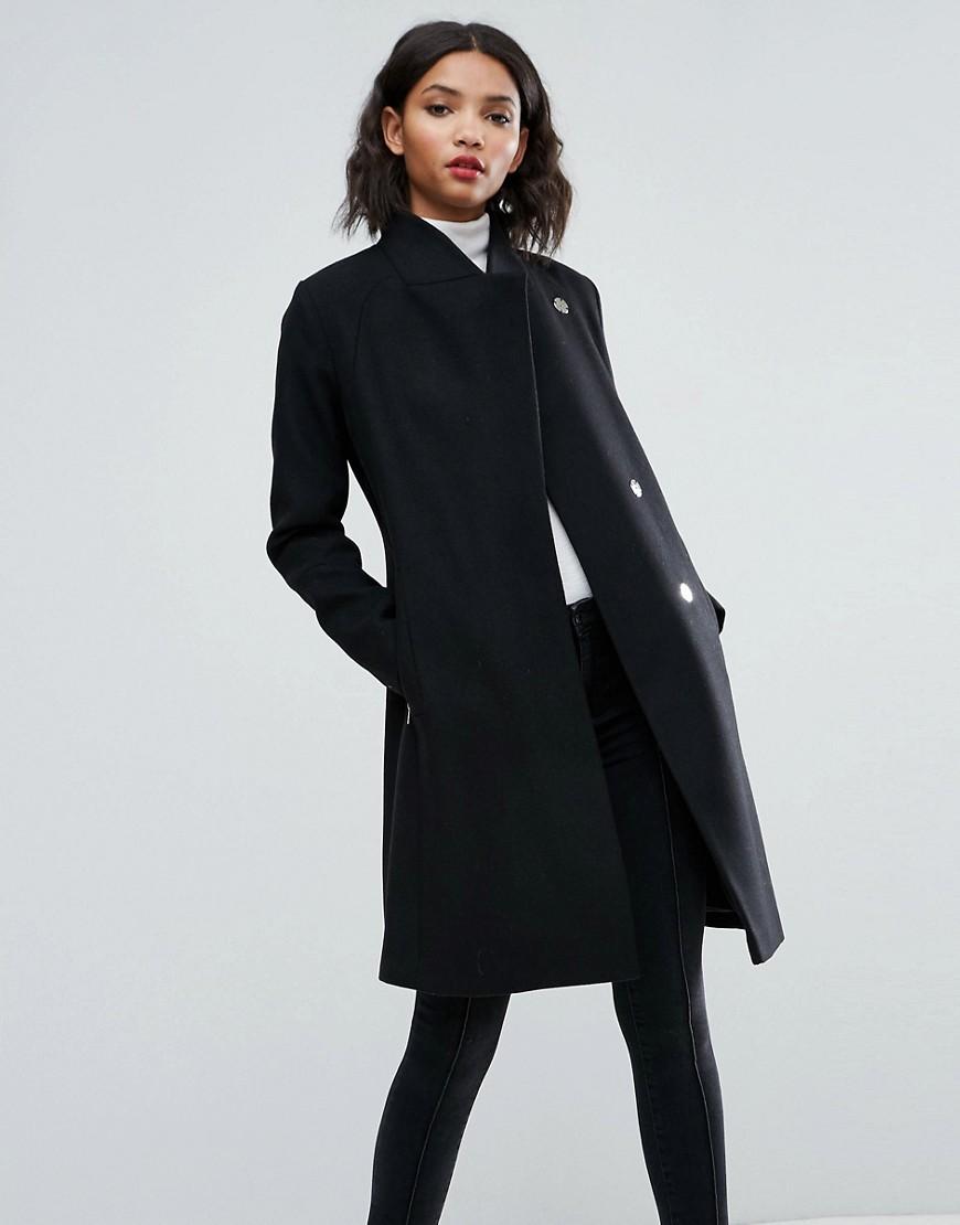 efb6f91973b Облегающее пальто строгого кроя с воротником-стойкой ASOS - Черный ...