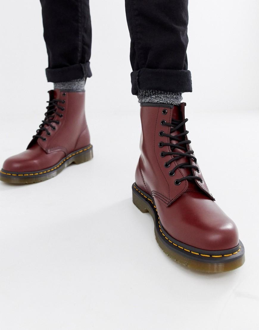 Dr. Martens | Красные ботинки с 8 парами люверсов Dr Martens original 11822600 - Красный | Clouty