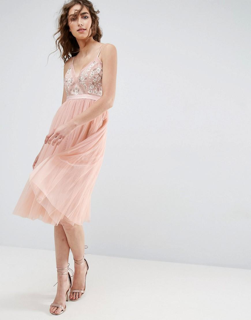 Needle & Thread | Тюлевое платье миди с вышивкой Needle and Thread - Розовый | Clouty