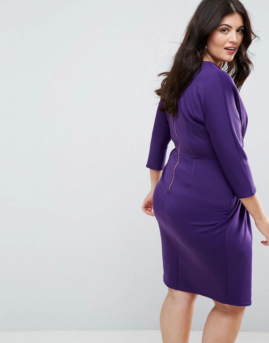 Closet London | Платье-футляр с плиссировкой и запахом Closet Plus - Фиолетовый | Clouty