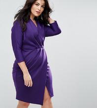 Платье-футляр с плиссировкой и запахом Closet Plus - Фиолетовый