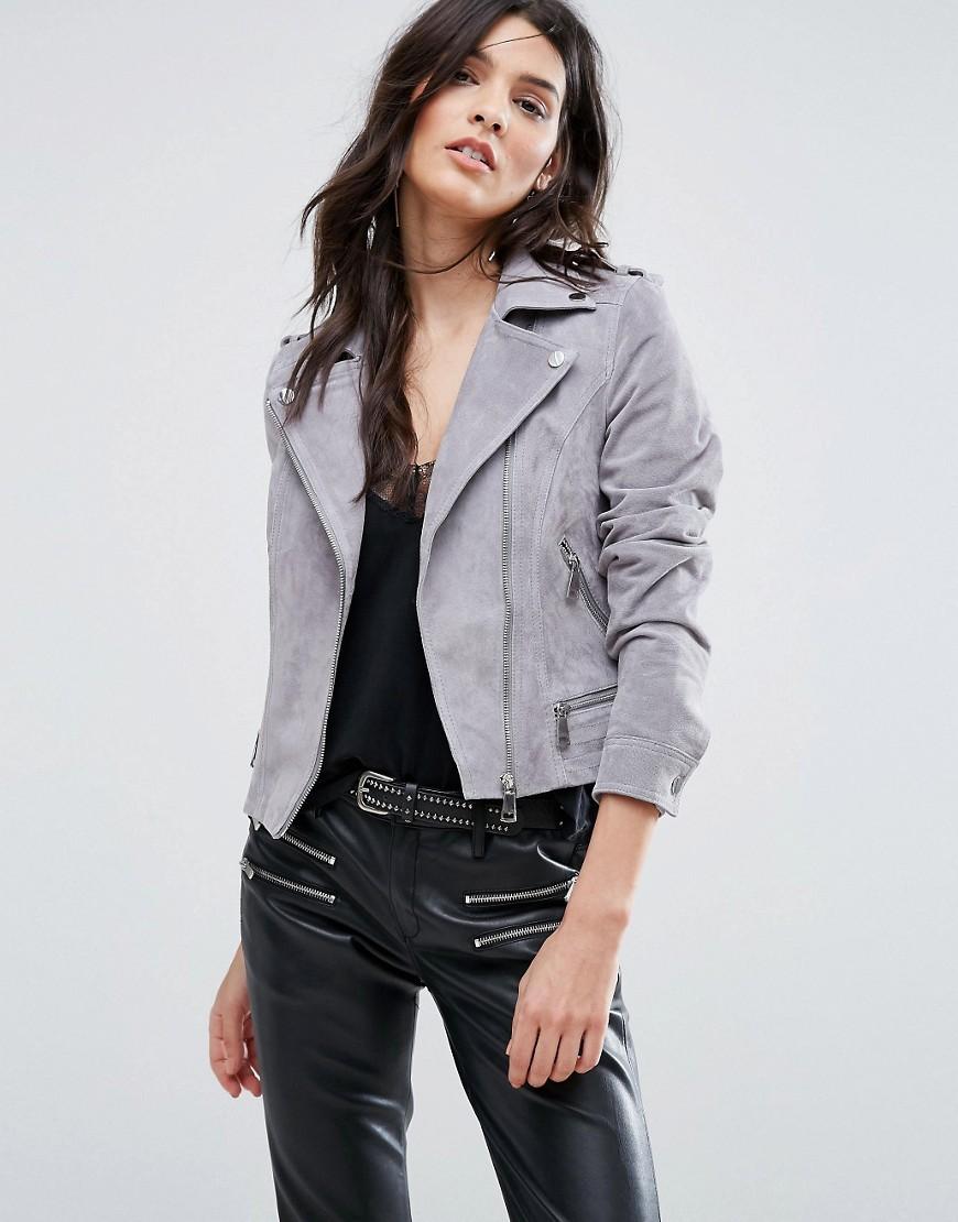 Замшевая байкерская куртка Vero Moda - Серый CL000022373437, цвет: серый - цена 4290 руб., купить на Clouty.ru