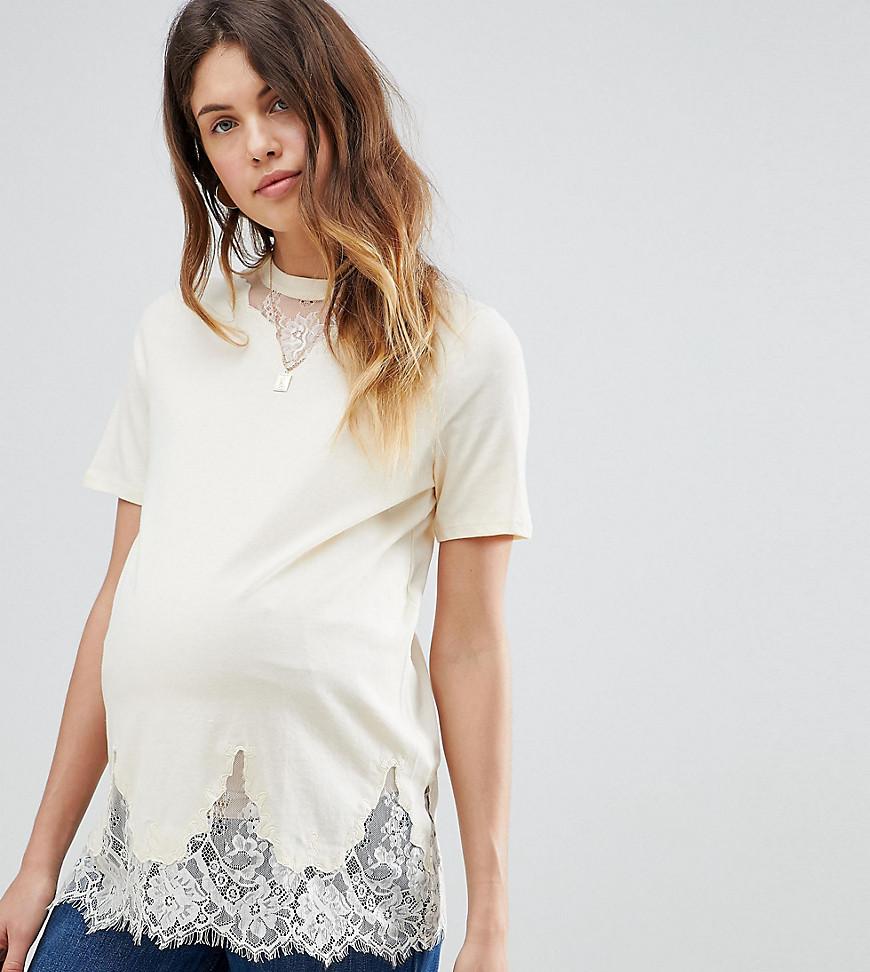 ASOS | Длинная футболка с кружевными вставками ASOS Maternity - Розовый | Clouty